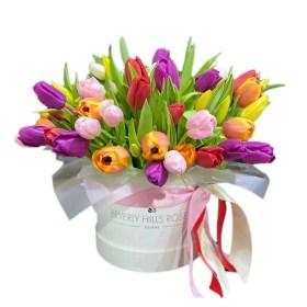 Mixed Colour Tulips Round Box