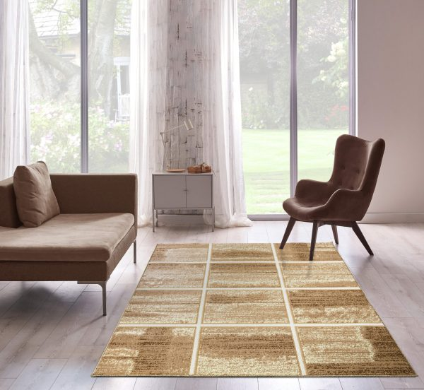 Beverly rug bella collection modern geometric area rug 00959a beige mustard
