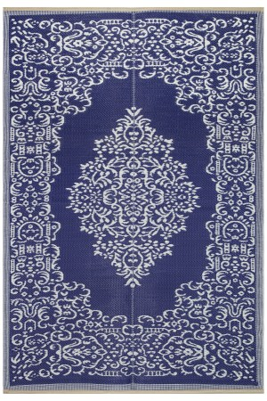 Beverly Rug Lightweight Indoor Outdoor Reversible Plastic Area Rug, Medallion Oriental Design Blue and White