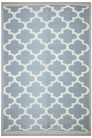 Beverly Rug Lightweight Indoor Outdoor Reversible Plastic Area Rug, Trellis Grey and White