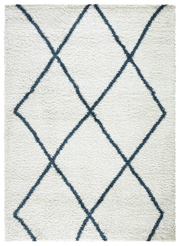 Beverly Rug Vienna Collection Modern Geometric Shaggy Area Rug G2927 White Blue
