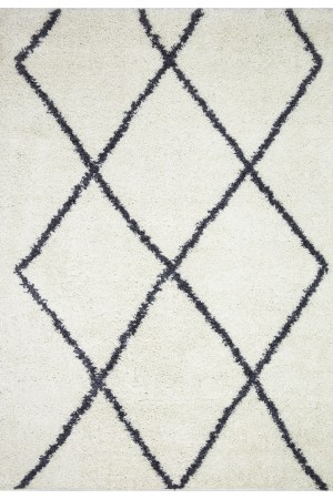 Beverly Rug Vienna Collection Modern Geometric Shaggy Area Rug G2927 White Dark Grey