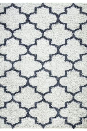 Beverly Rug Vienna Collection Trellis Shaggy Area Rug G3715 White Dark Grey
