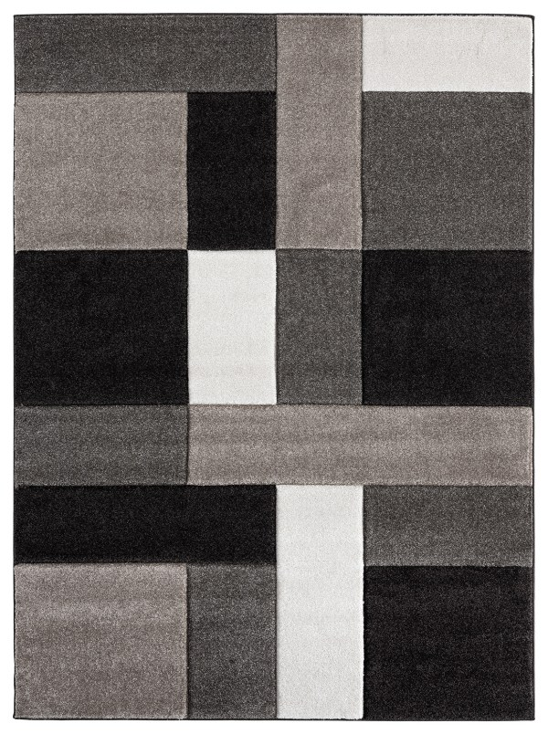 Beverly rug ibiza collection geometric blocks abstract area rug 2811 brown and beige