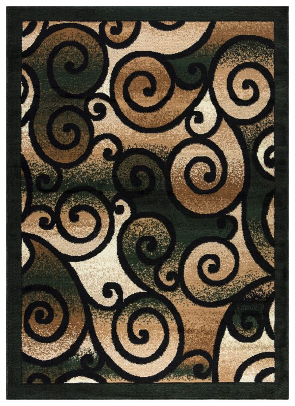 beverly rug Princess Collection Geometric Swirl Abstract Area Rug 806 green and Black