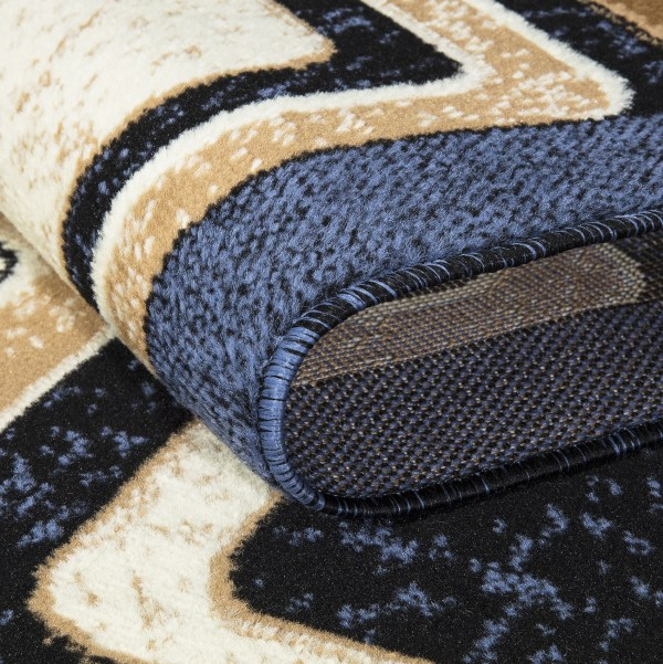 beverly rug Princess Collection Geometric Swirl Abstract Area Rug 807 beige blue