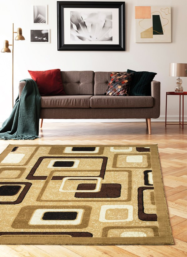 beverly rug Princess Collection Geometric Swirl Abstract Area Rug 807 mustard beige