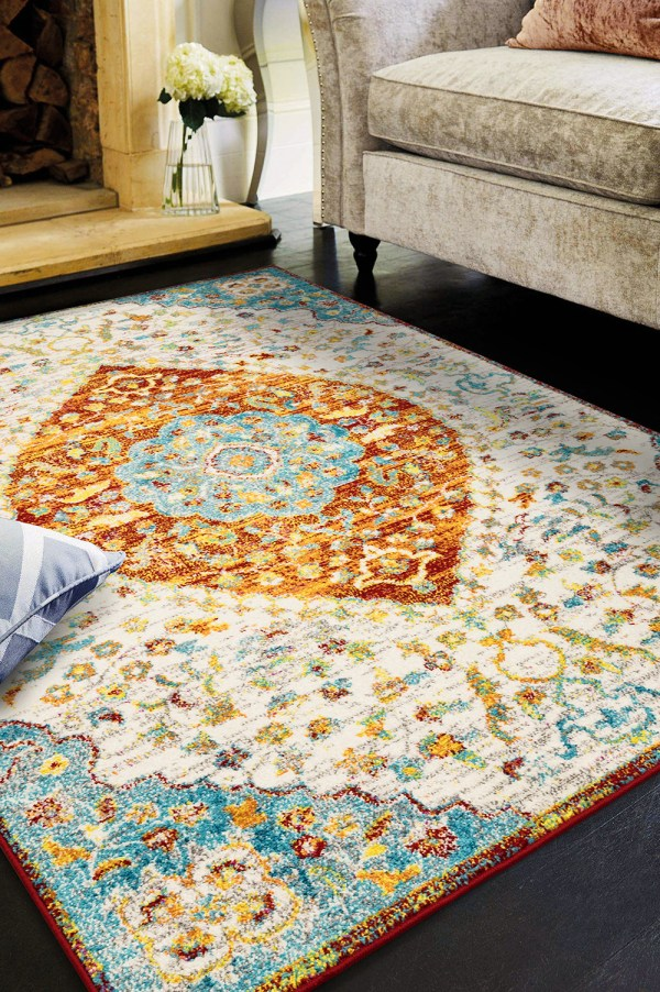 Beverly rug queen collection multi color bohemian area rug 2801 blue