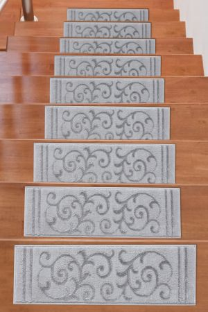 Beverly Rug Soft Rug Stair Treads Floral Design - Grey