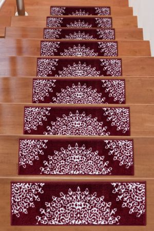 Beverly Rug Soft Rug Stair Treads Medallion Design - Red