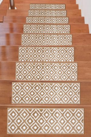 Beverly Rug Soft Rug Stair Treads Trellis Design - Beige