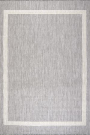 Waikiki Collection Indoor/Outdoor Bordered Area Rug - Grey & White