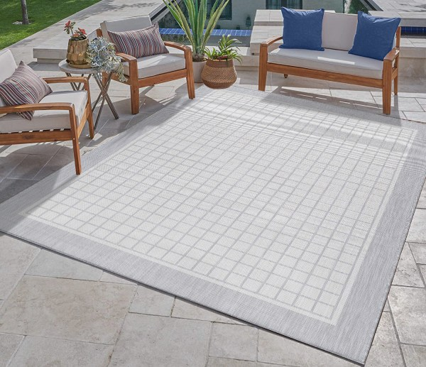 Waikiki Collection Indoor/Outdoor Bordered Squares Area Rug - Grey & White