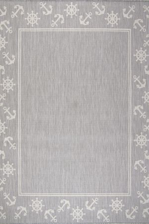 Waikiki Collection Indoor/Outdoor Helm and Anchor Area Rug - Grey & White