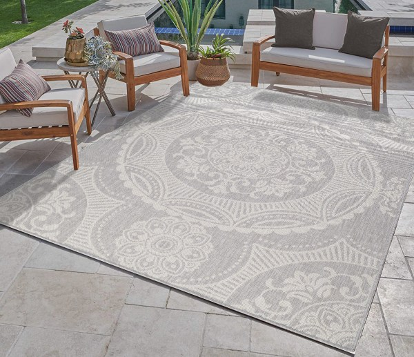 Waikiki Collection Indoor/Outdoor Medallion Area Rug - Grey & White