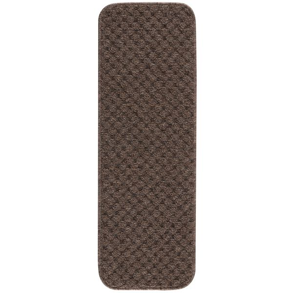 """Beverly Rug Solid Color Indoor Carpet Stair Treads 8.5""""x26"""" Brown"""
