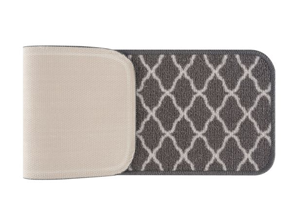"Beverly Rug Trellis Design Indoor Carpet Stair Treads 8'5""x26"" Grey"