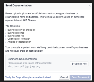 verify facebook business page with documents, betsy kent, be visible, blog school