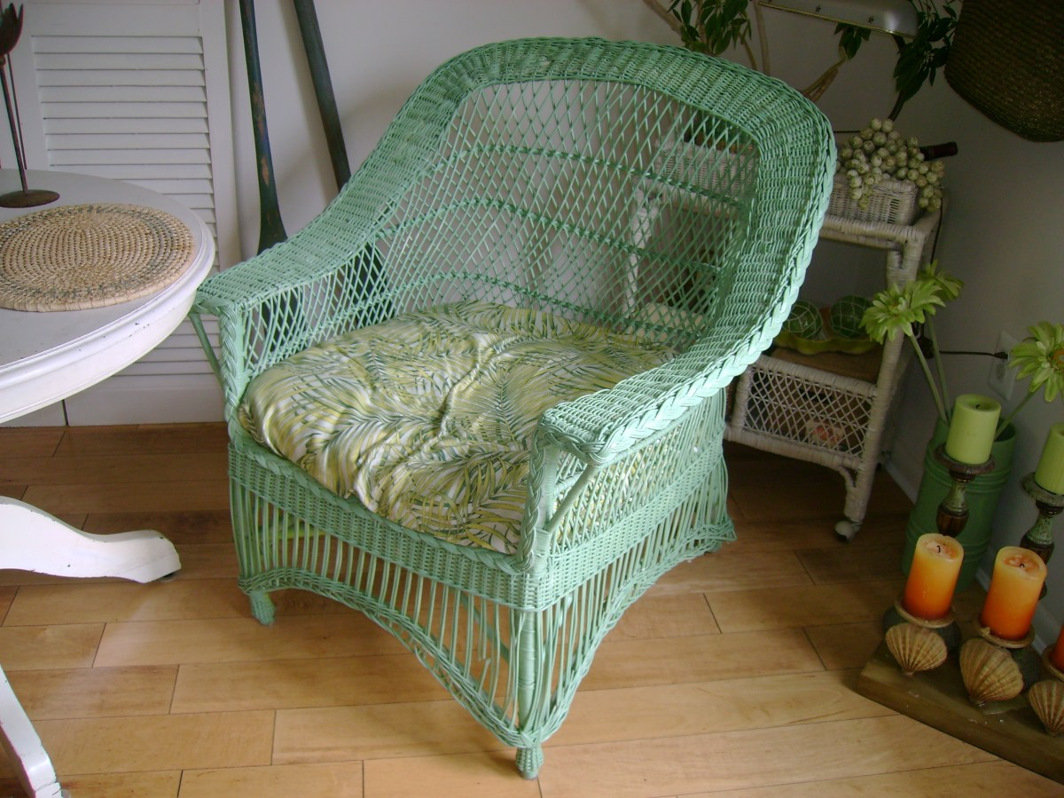 Green Painted Wicker Chair