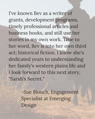 Testimonial Sue Blouch for Bev Scott Author