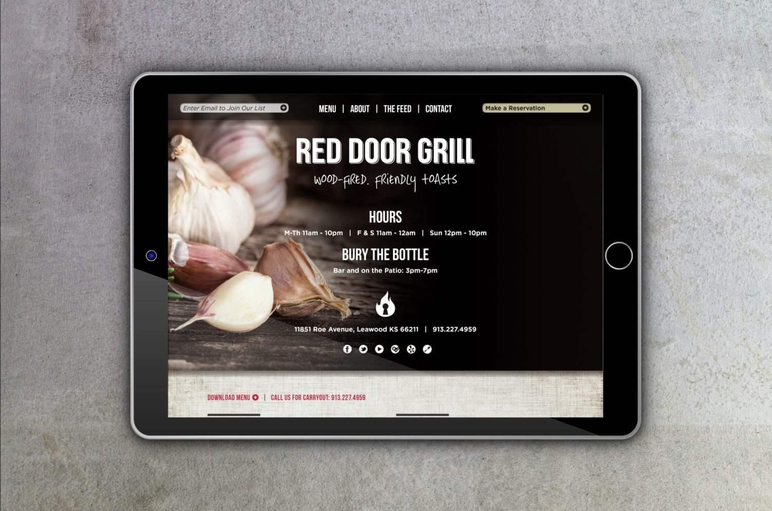 Red Door Grill Tablet Website