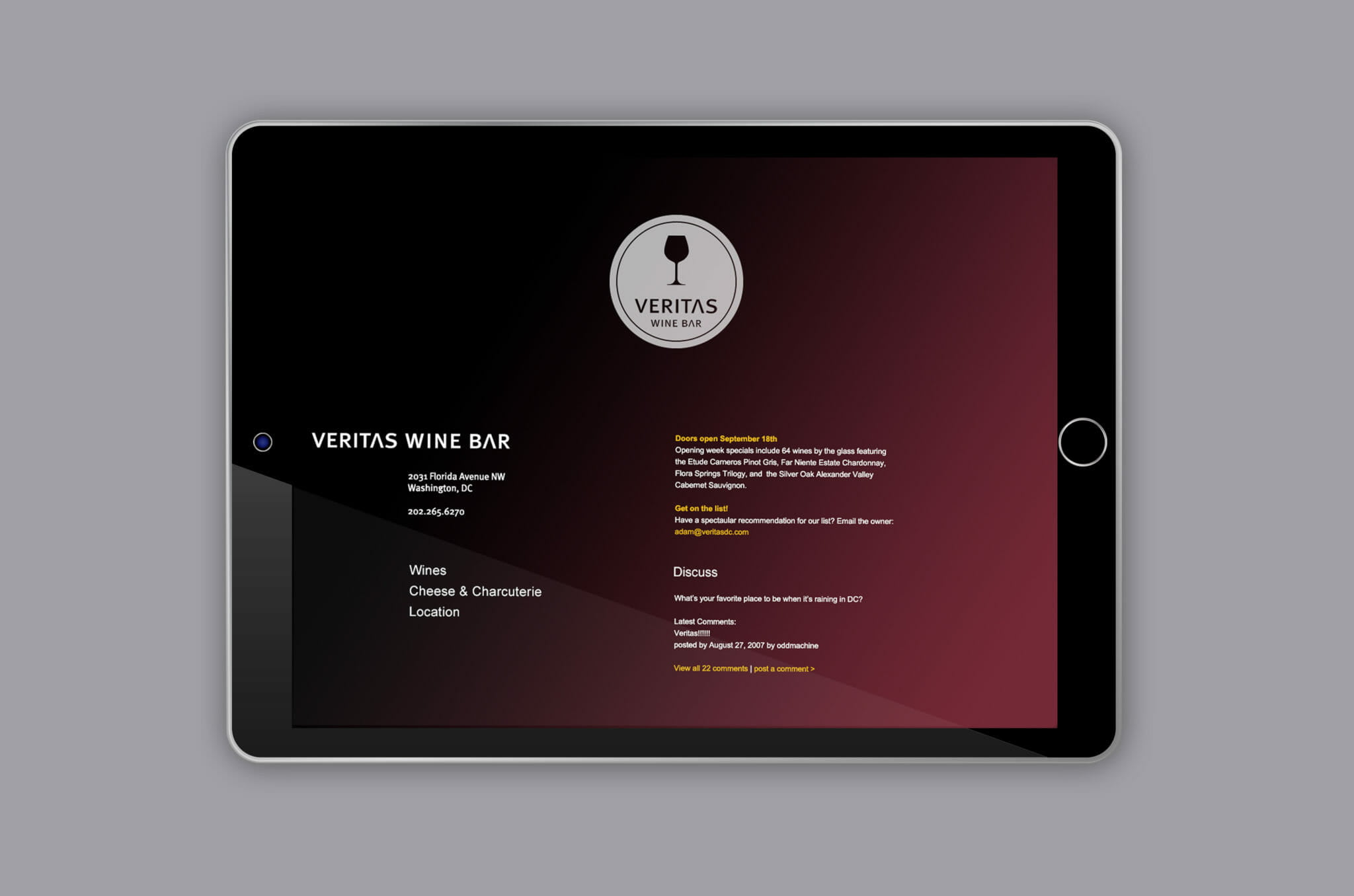 Veritas Wine Bar Website