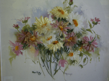 A Bunch of Daisies on a Hand-painted Background