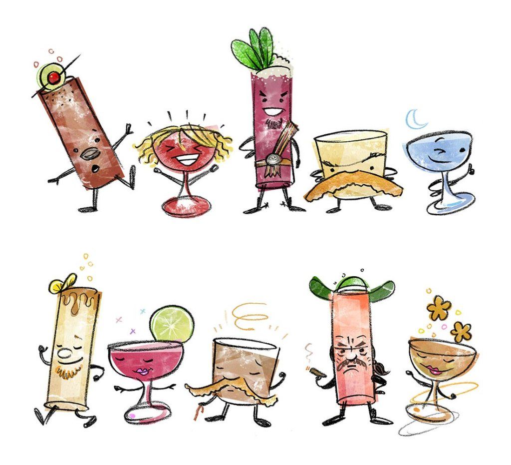 Some of Dave Stolte's iconic cocktail illustrations, commissioned by Big Bar in Los Angeles | Photo: Dave Stolte