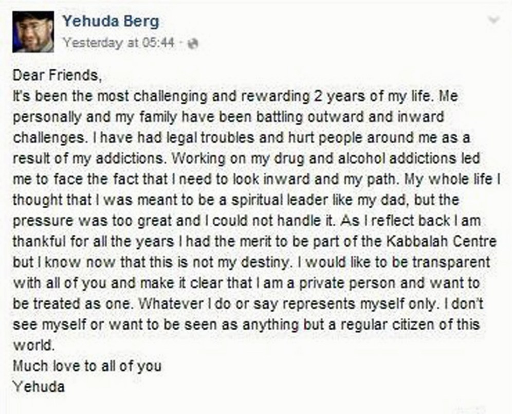 Yehuda Berg steps down December 3 2015