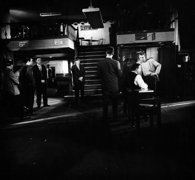 An on set scene from 'The Hustler'