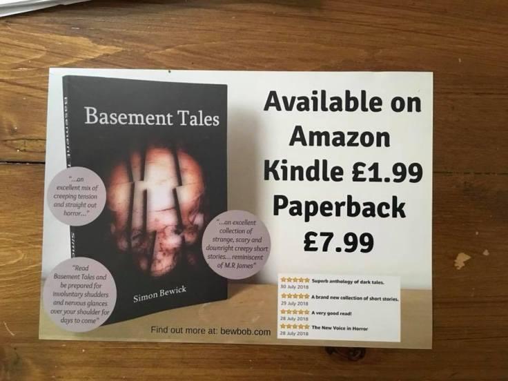 Basement Tales flyer advertising availabilty