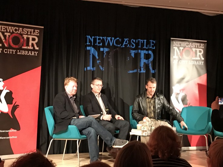 Simon Bewick interviewing Luke McCallin and Paul Hardisty at Newcastle Noir 2019