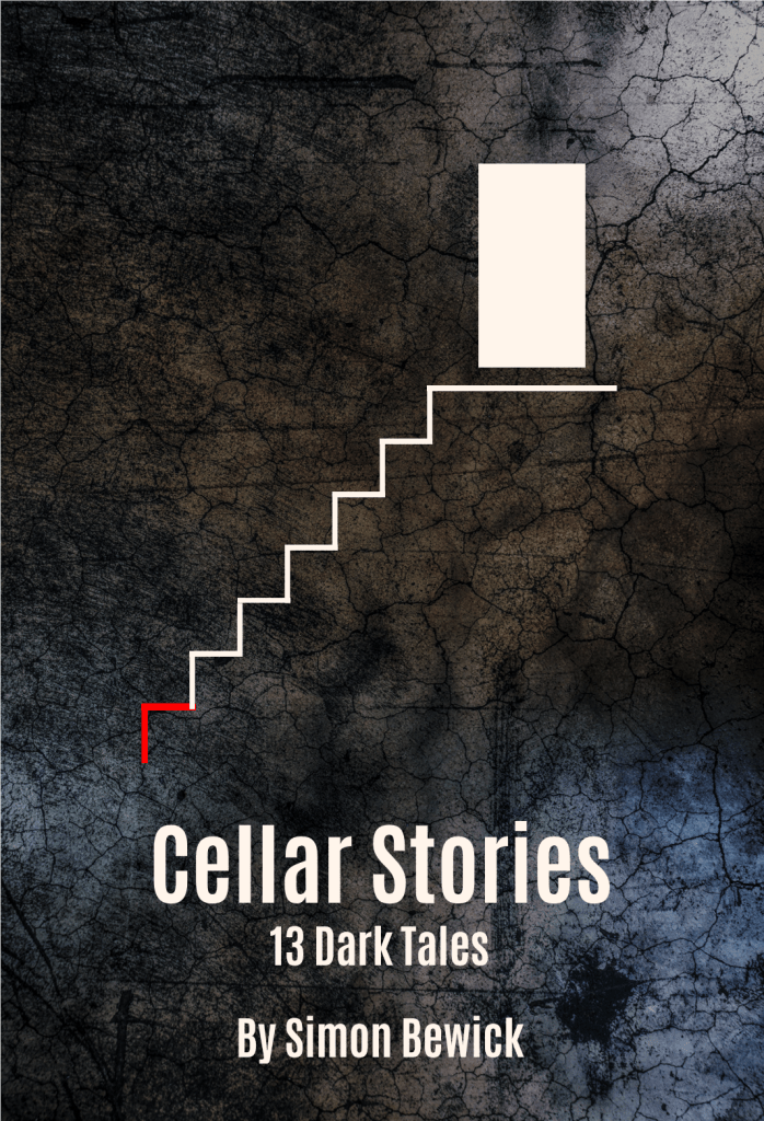 Cover of book Cellar Stories featuring a line drawing of a doorway and steps leaving down