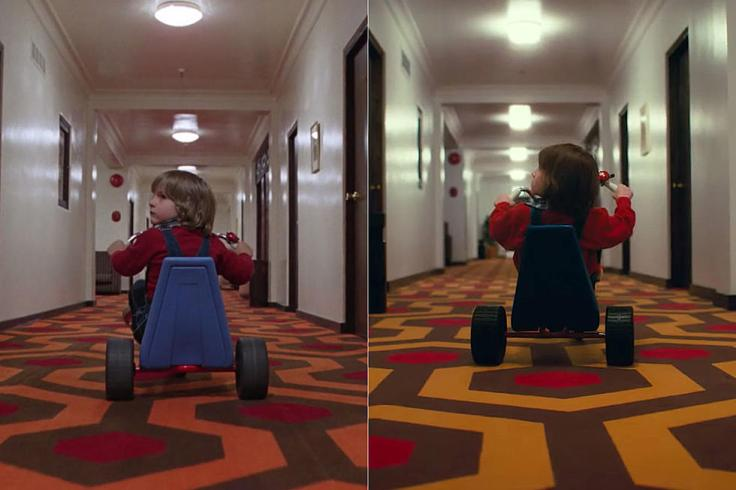 picture of Danny on his bike down the corridors of The Overlook - old and new version