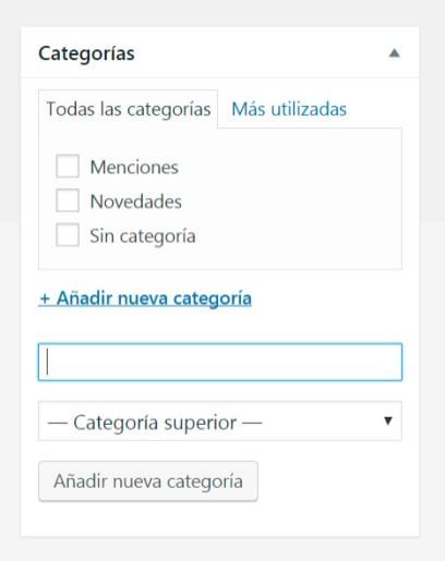Añadir/elegir categoría