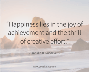 Happiness lies in the joy of achievement and the thrill of creative effort. - Franklin D. Roosevelt