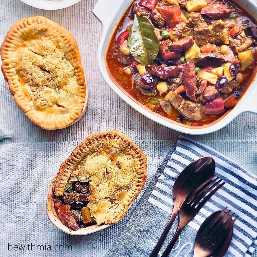 Filipino Menudo Traditional with Rice and Pot Pie