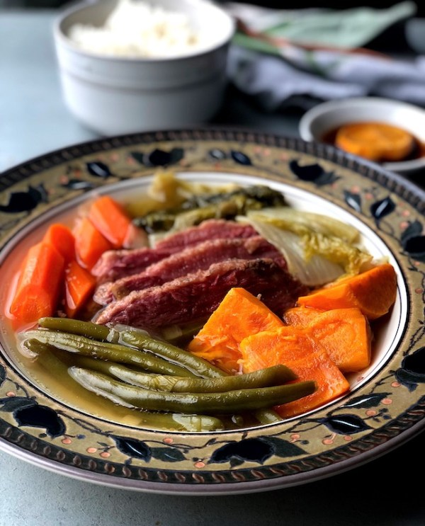 Close up of Instant Pot Corned Beef Nilaga