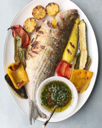 Grilled Stripe bass with grilled vegetables and Chimichiurri sauce