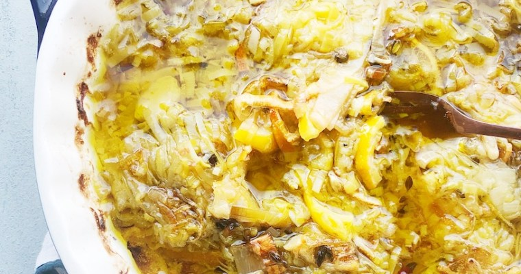 Confit of Leeks with Lemon and Garlic