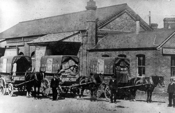 Bexhill railway station goodsyard c1900