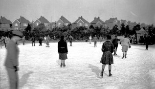 Ice skating on Egerton Park Pond 1929