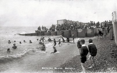 BBE-007 - Bexhill Beach, Sea Bathing c1910