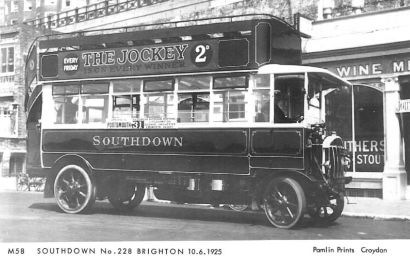 228 open top d-d solid tyre bus in Brighton on serv to Portsmouth 10-6-1925
