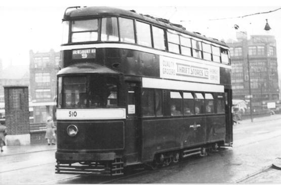 510 ex LT2074 MET328 serv 9 to Dewsbury Rd 1950s