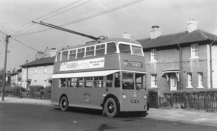 815 BDY815 !st ex Hastings trolley in serv in Bradford @ Thornbury 15-8-1959
