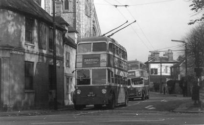 88 BDY817 serv to Barming in Knightrider St 2-11-1964