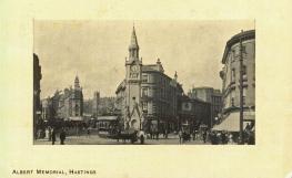 Albert Memorial with tram looking west c1910