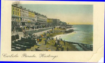 Carlisle Parade from Pier (tinted postcard) 21-5-1909