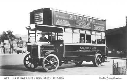 DY3745 Skinners Leyland d-d open top bus @ Ore stn 22-7-1926